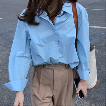 Korean ins hot autumn new fresh blue lapel loose bf wind wild long-sleeved shirt blouse