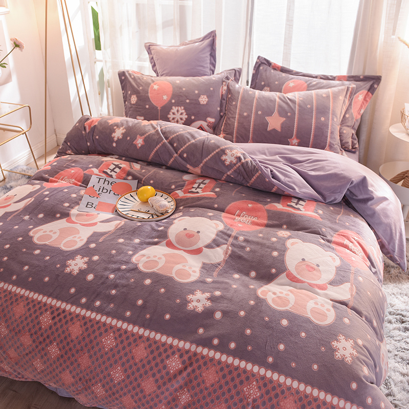 珊瑚绒四件套双面绒冬季床上床单被套加厚床笠款水晶法莱绒法兰绒