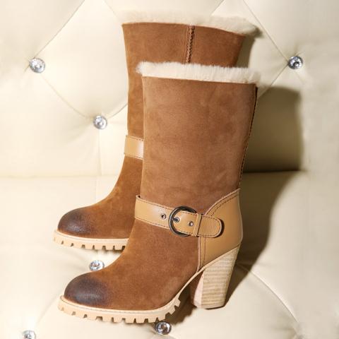 羊皮毛一体粗跟雪地靴