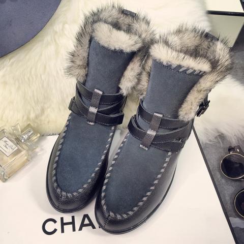 真皮磨砂短筒雪地靴