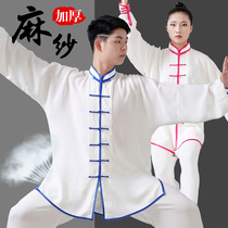 Jie He hemp yarn Taiji suit male spring and Autumn Wushu practice suit Taijiquan Competition