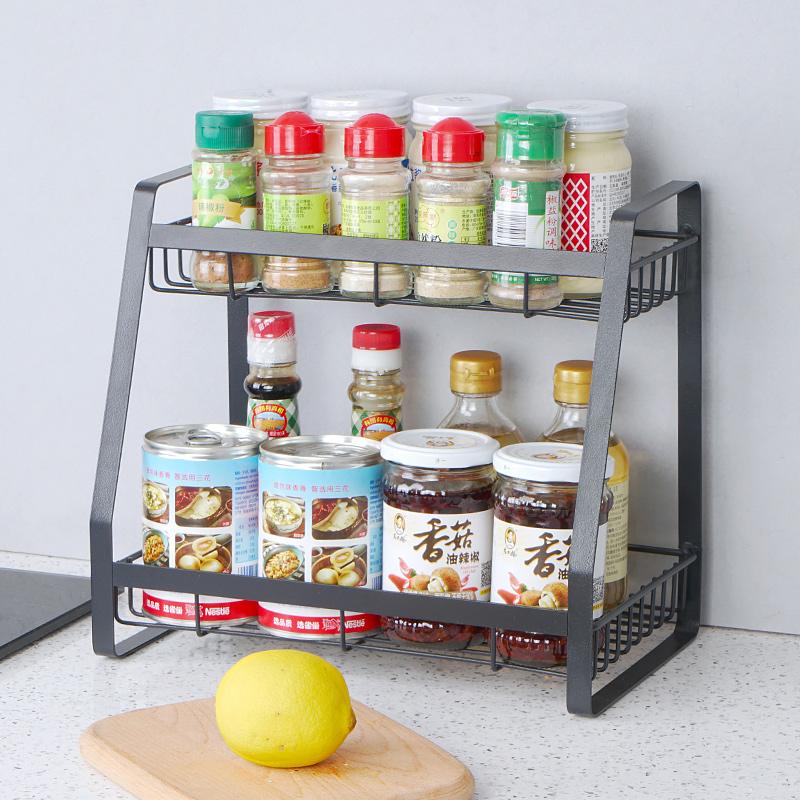 美之高调料瓶置物架三层台面中式转角免打孔收纳架金属厨房调味架
