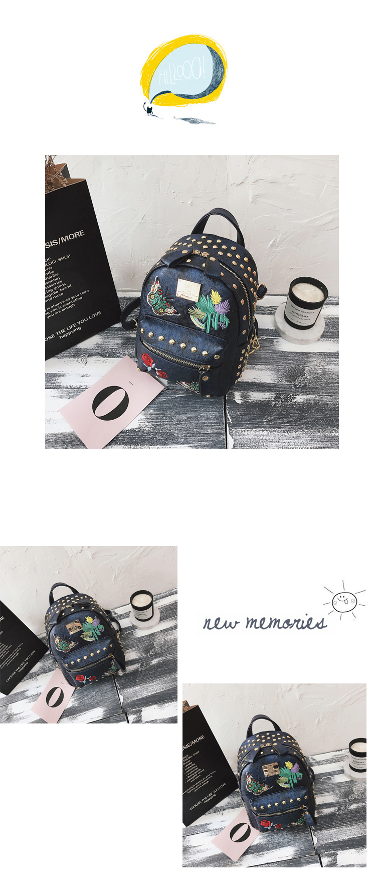 Korean version of the tide 2018 new retro embroidery rivets backpack casual wild multi-purpose small bag 42