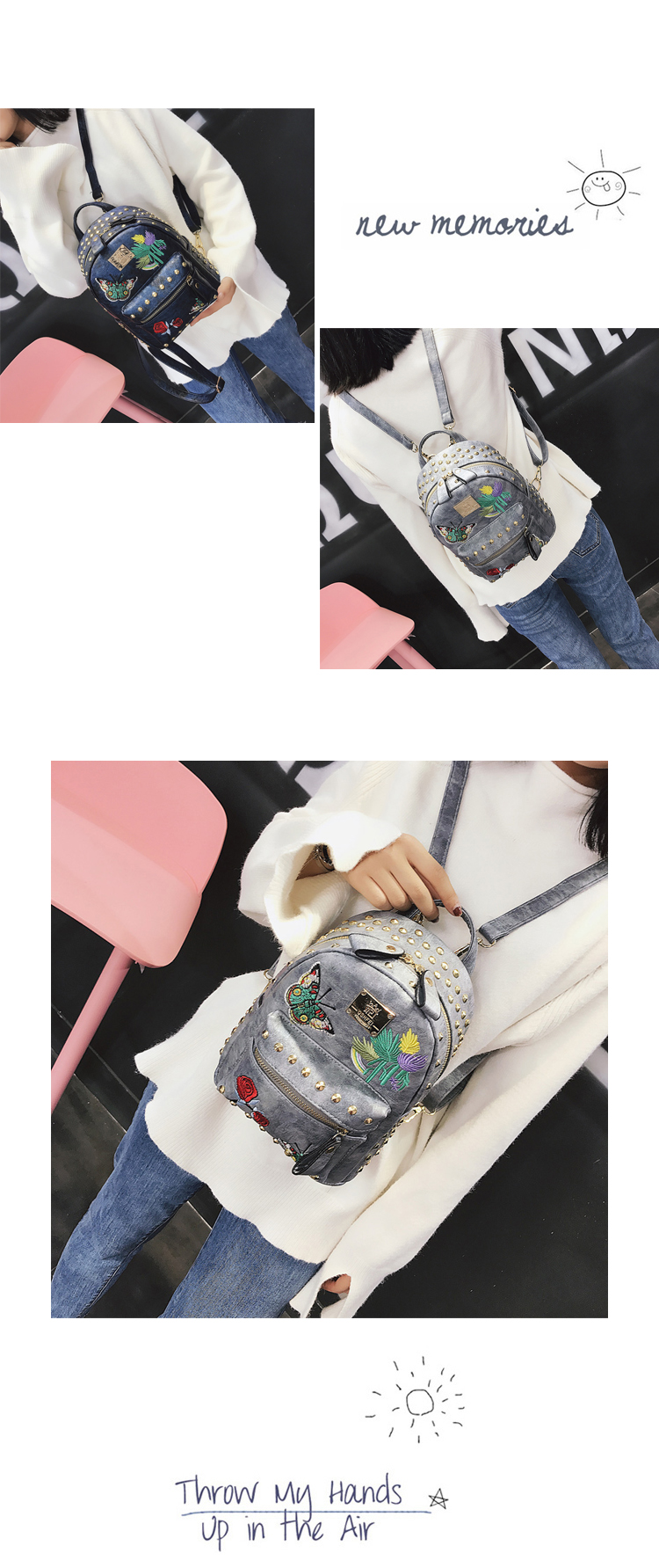 Korean version of the tide 2018 new retro embroidery rivets backpack casual wild multi-purpose small bag 35