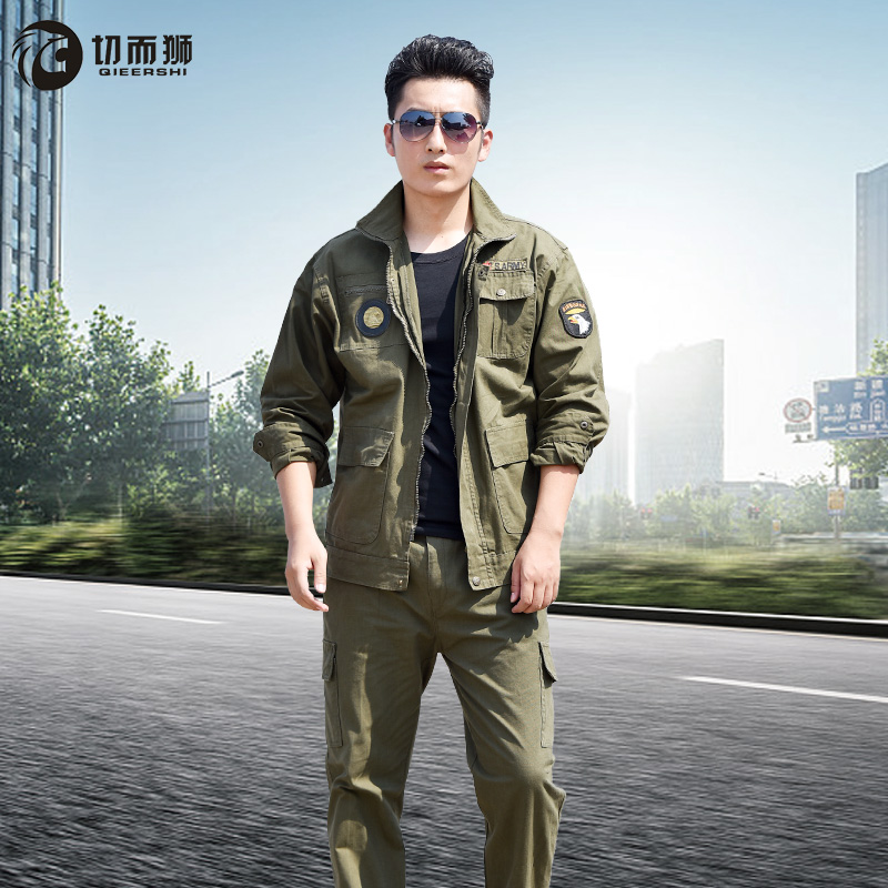 Workwear suit men's long-sleeved summer cotton anti-hot wear-resistant construction site work labor protection factory clothing welding work clothes men