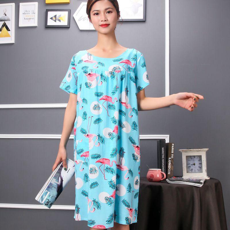 绵绸睡衣女夏天人造棉宽鬆中老年棉绸短袖洋装睡裙加肥大尺码可外穿详细照片
