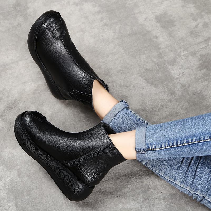 复古手工松糕女靴单靴原创文艺v手工靴加绒棉靴厚底坡跟短靴真皮靴