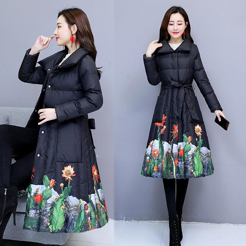 19冬季新款女装中长款外套棉袄韩版棉衣修身棉服式裙摆时尚羽绒。