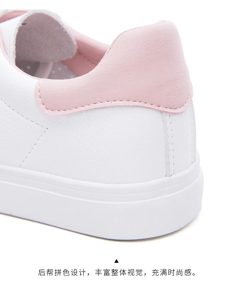 热风2018年秋款学院风女士系带圆头休闲鞋平底小白鞋H14W8105