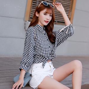 2019格子襯衫女寬松春款新款韓版學生夏季燈籠袖原宿襯衣小衫