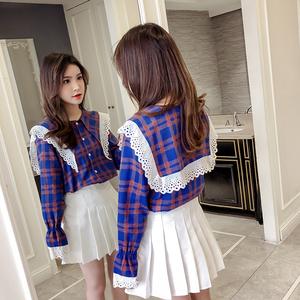 格子娃娃衫2019韩版高腰宽松荷叶边衬衣灯笼袖海军领衬衫甜美