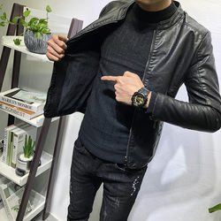 Classic versatile stand collar leather coat with plush thickening fashionable men's autumn winter new Korean slim jacket social network infrared cover