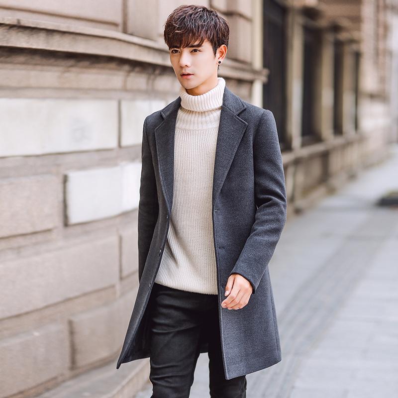 2019大衣新款风衣男士外套韩版修身中长款男装秋冬大码毛呢呢子潮