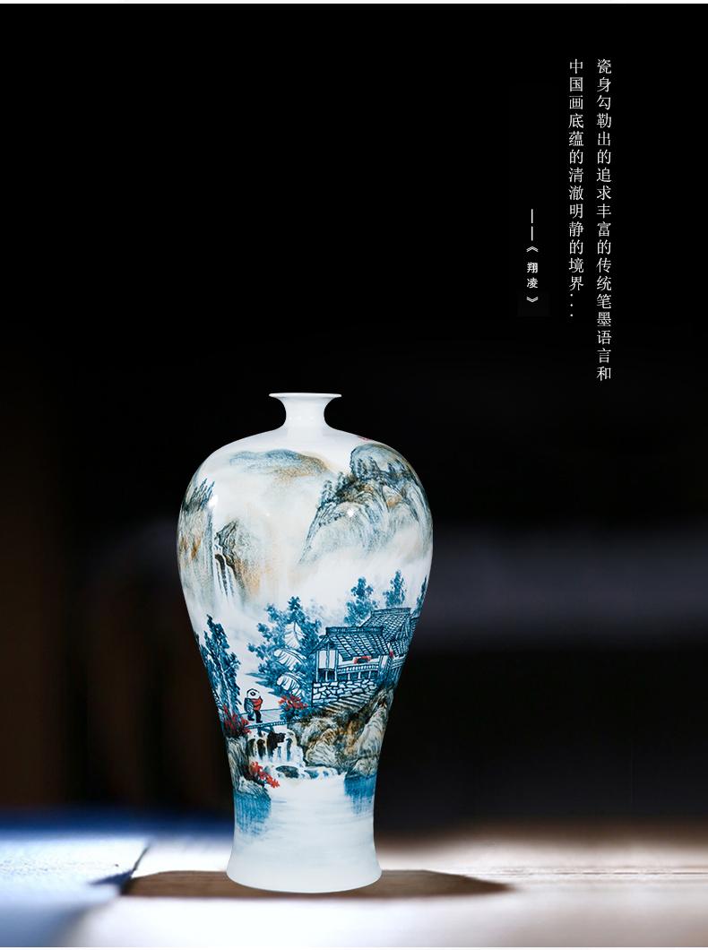 Jingdezhen ceramics celebrity hand - made the master of landscape painting large vase household villa living room office furnishing articles