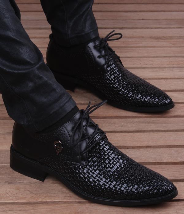 夏季韩版皮鞋男英伦商务镂空透气防臭尖头新款编织内增高6cm男鞋4张