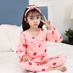 女童春款纯棉睡衣套装