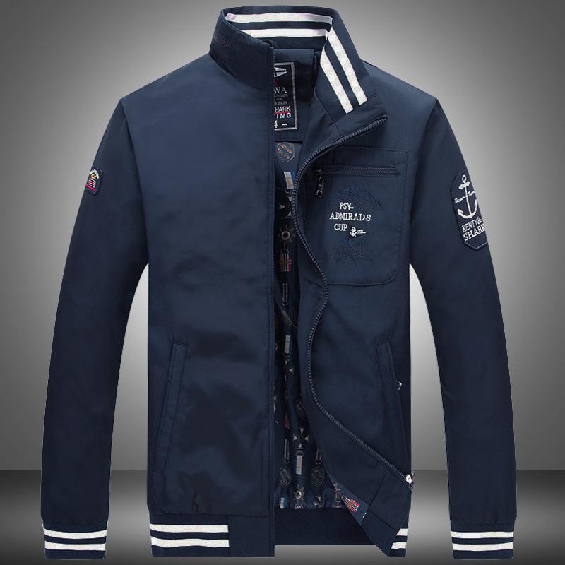 2018春季薄款鲨鱼男士立领夹克 欧美时尚男装大码青年徽章外套 潮