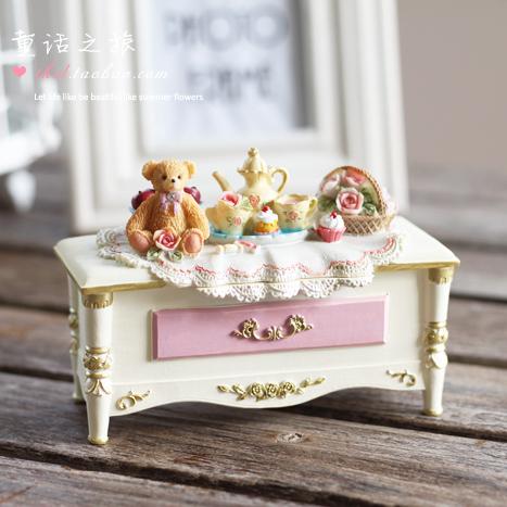 Континентальный ретро принцесса домой аксессуары коробка в коробку смола ремесла товары страна очаровательный медвежонок шкатулка 22