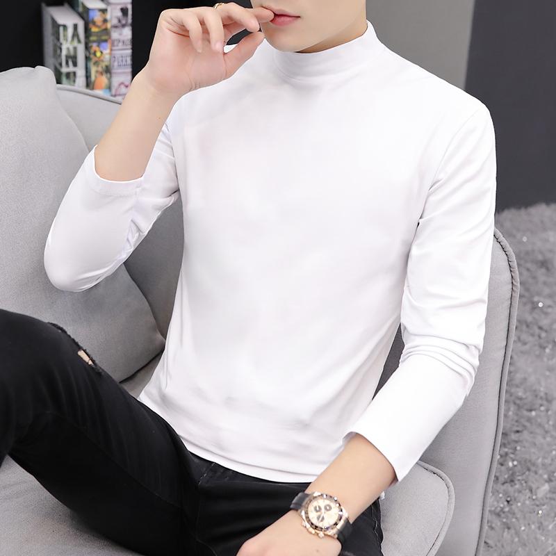 马克华菲长袖T恤男士秋季新品半高领白色秋衣打底衫韩版潮流立领t