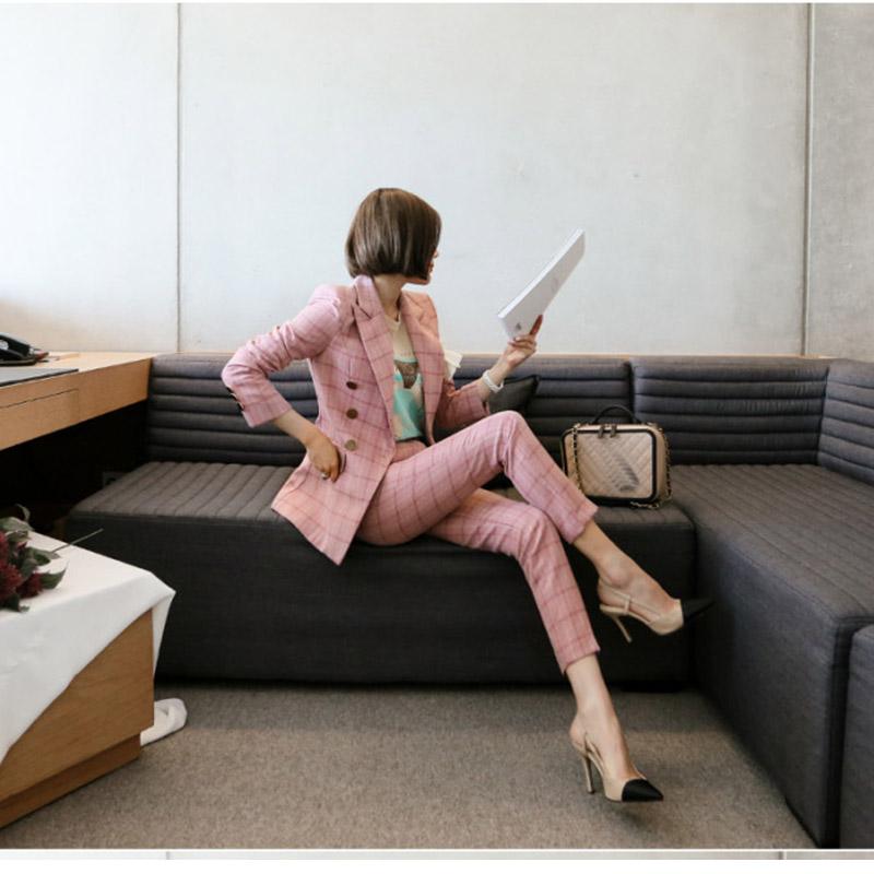 春秋粉色韩国外套小西装女新品格子时尚修身显瘦职业套装裤两件套