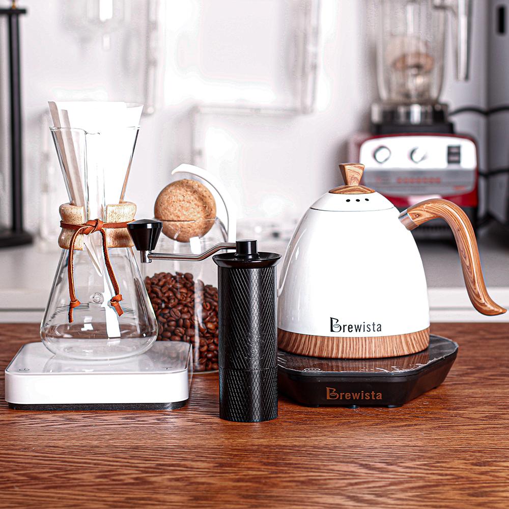 جلد بمقبض خشبي من chemex مع وعاء قهوة زجاجي مصنوع يدويًا مجموعة القهوة الاستهلاكية والتجارية لـ 3 أشخاص / 6 أشخاص