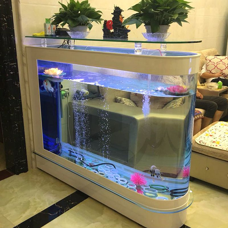 Fish Tank Aquarium Living Room Glass Screen Partition Fish Tank Bullet  Ecological Goldfish Tank Home Porch Aquarium