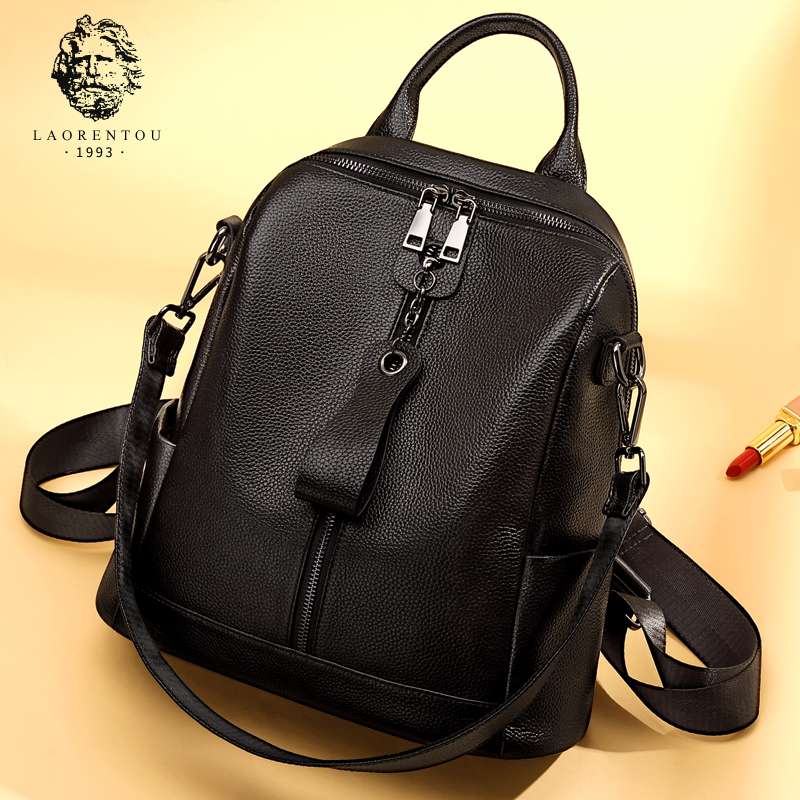 Old man head leather large capacity shoulder bag woman 2019 new Korean version hundred fashion cowhide Small backpack female bag