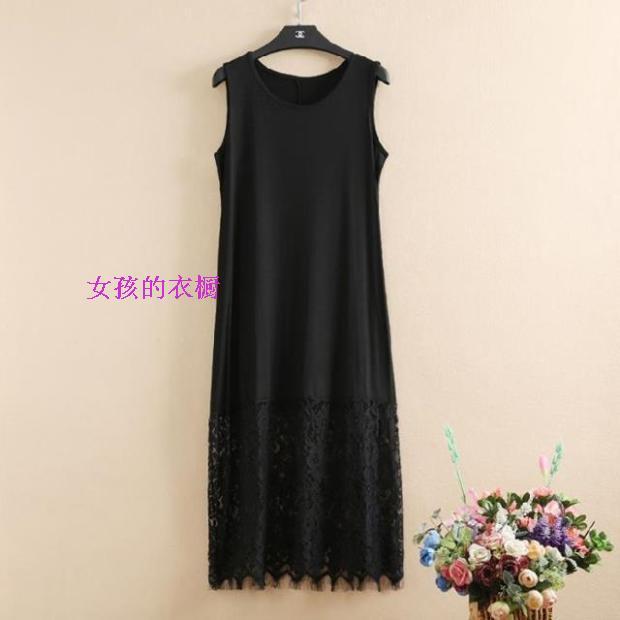 加大码胖MM女装夏季新款时尚波西米亚风蕾丝拼接无袖连衣裙长裙