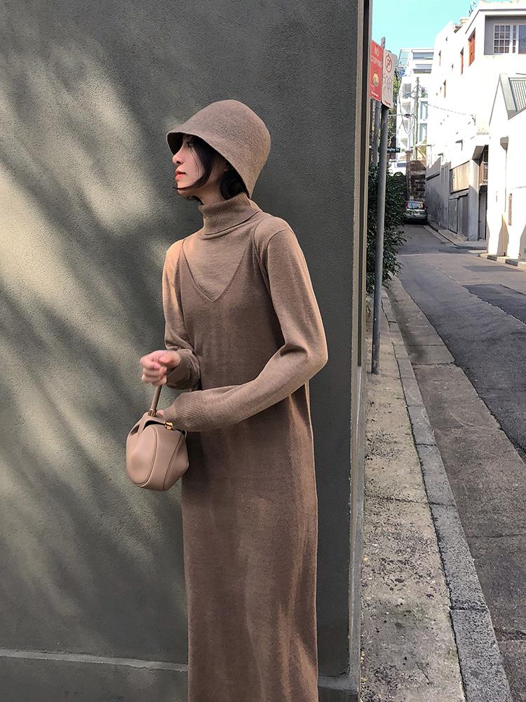 Обобщение FFAN черный строп трикотажный Платье детей осень-зима 2018 новая коллекция фасон средней длины стиль Нижняя юбка