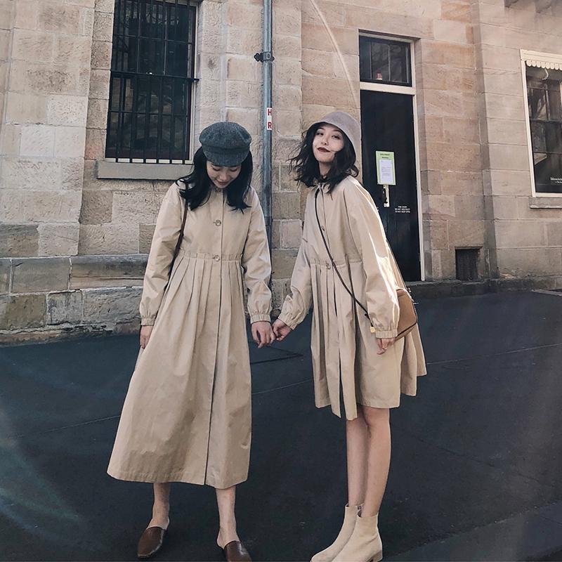 Обобщение FFAN стиль ветровка женщина фасон средней длины стиль осень 2018 новая коллекция Простая студенческая рубашка с куклами куртка