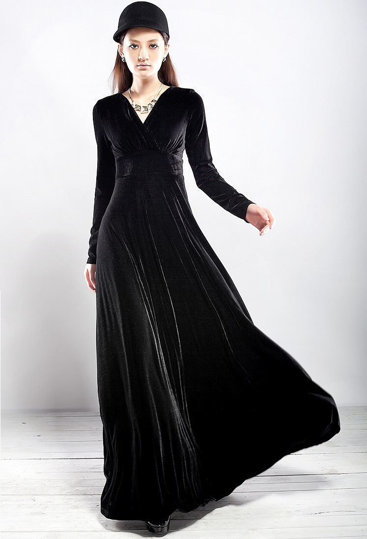 Elegant Women Long Sleeve Party Formal Evening Maxi Dress Prom Gowns ...