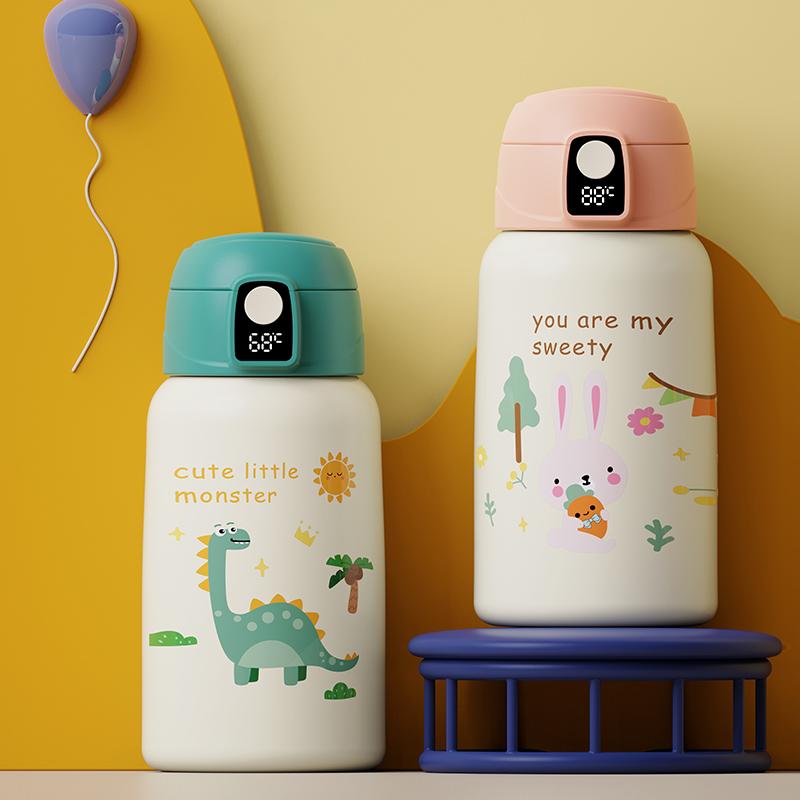 智能儿童保温杯带吸管幼儿园小学生水杯子不锈钢防摔便携宝宝水壶