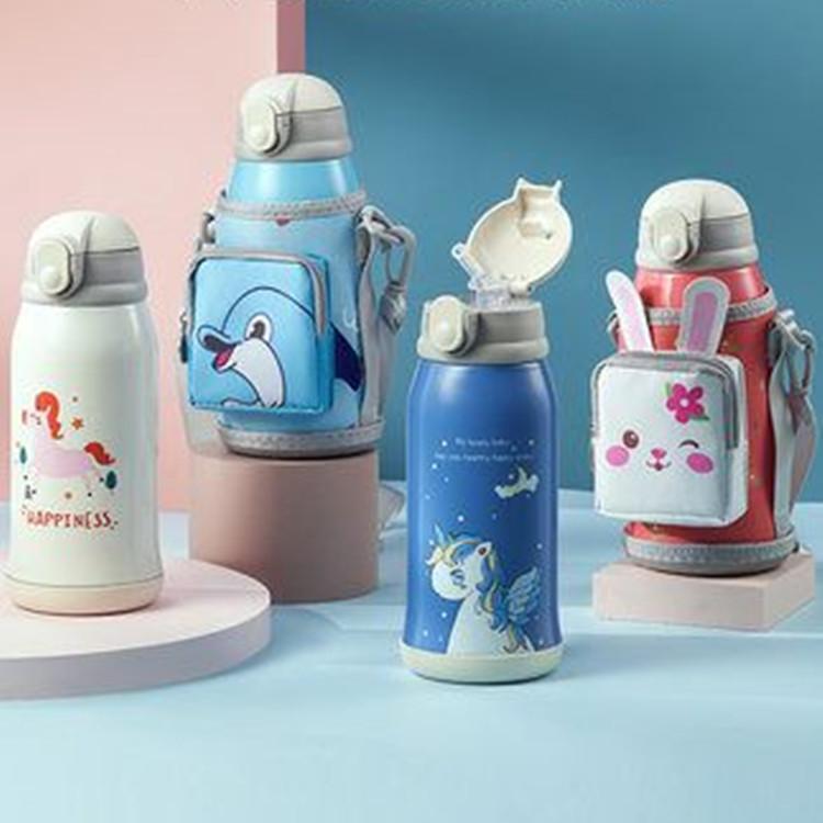 智能儿童保温杯带吸管水杯幼儿园宝宝杯子便携防摔两用小学生水壶