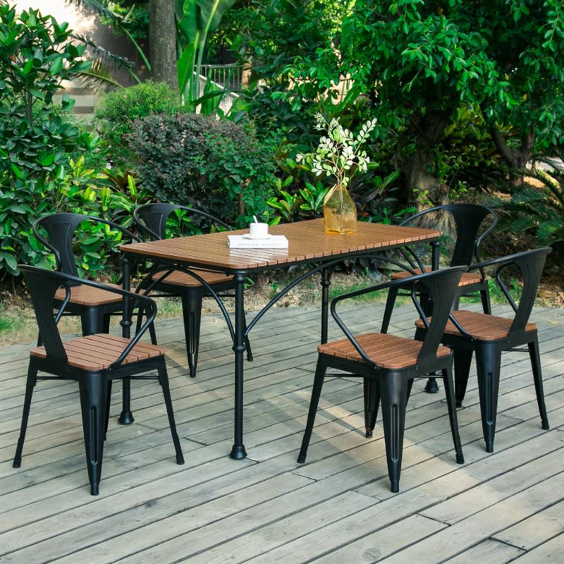 Ngoài trời bàn ghế sân vườn ngoài trời biệt thự gỗ bảo quản bàn ăn và ghế ban công cà phê cửa hàng đồ gỗ giản dị