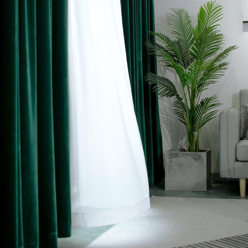 中國代購 中國批發-ibuy99 2020新款落地窗纯色复古欧式绒布别墅轻奢大气高窗窗帘定制成品