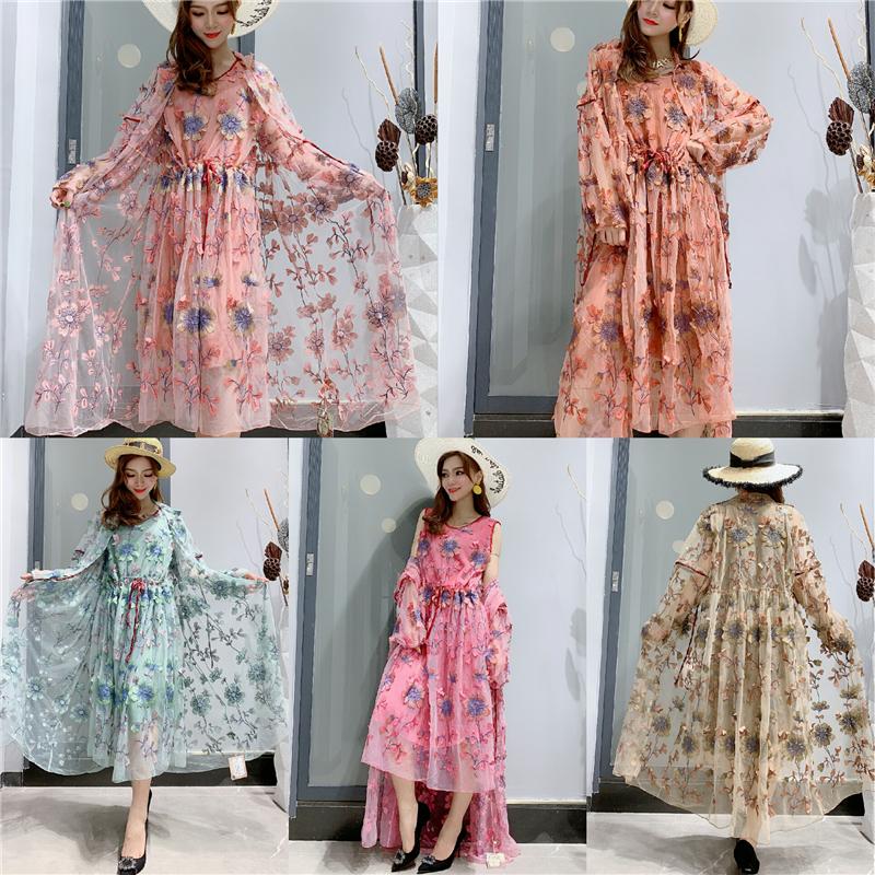 10157秋季新款花色西装领开衫收腰背心裙时尚欧根网纱刺绣两件套