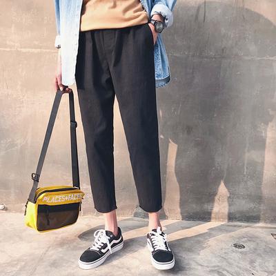 @ Hong Kong literary men's 2018 spring new men's pants Korean version of the trend of casual pants loose straight pants