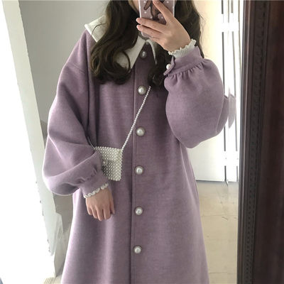 The Ture Original Retro Loose Coast Women's Middle Changmei Pearl Thick Coat Students Korean Edition