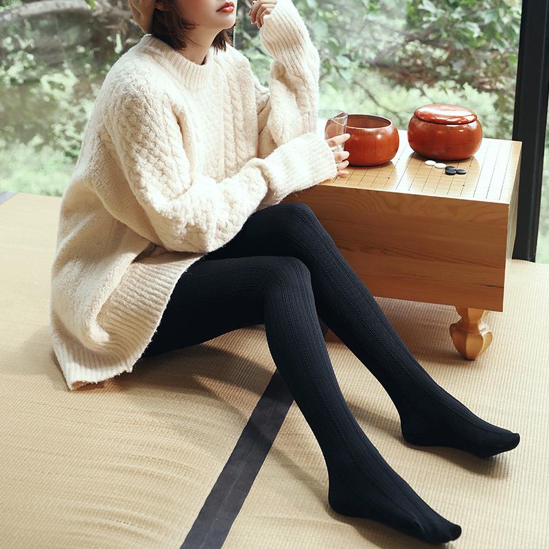 茗梵平板踩脚裤秋季新款黑色条纹微压显瘦中厚美腿袜瘦腿打底裤