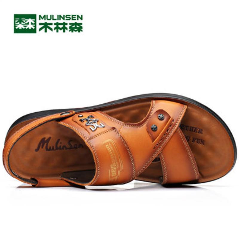 木林森凉鞋男夏季新款男士真皮沙滩鞋软底皮凉鞋两用休闲凉拖鞋子