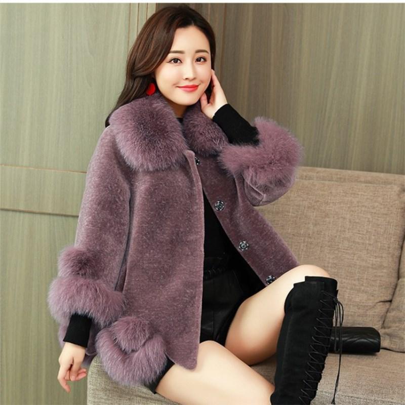 毛呢外套女防羊剪绒大衣短款2018秋冬新款韩版斗篷大毛领修身外套