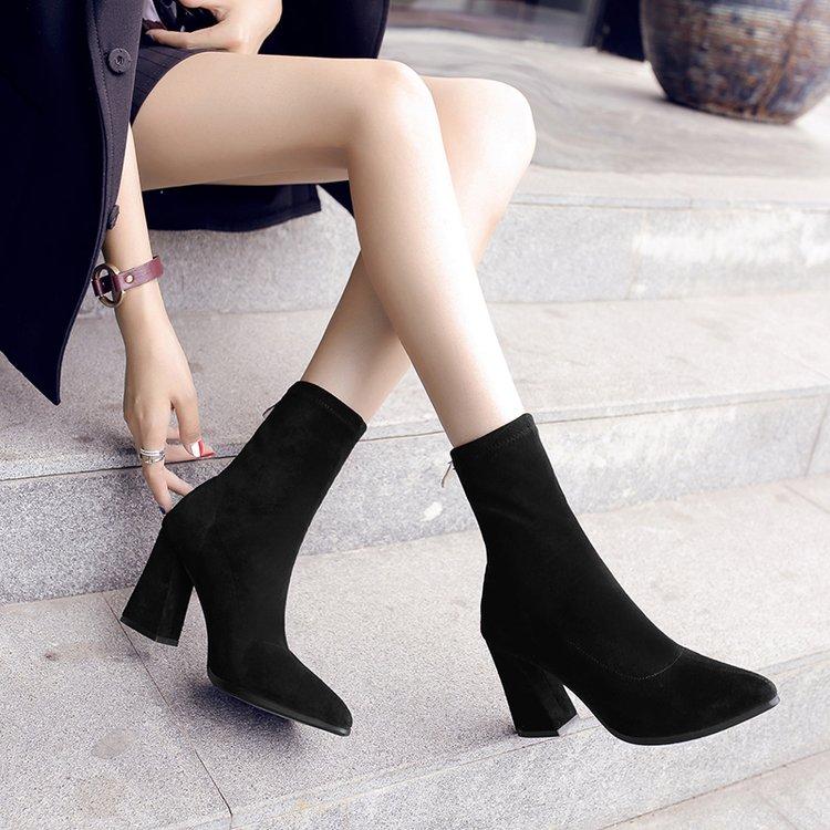 2019新款短靴女秋冬粗跟弹力靴女鞋高跟尖头中筒靴英伦风马丁靴子