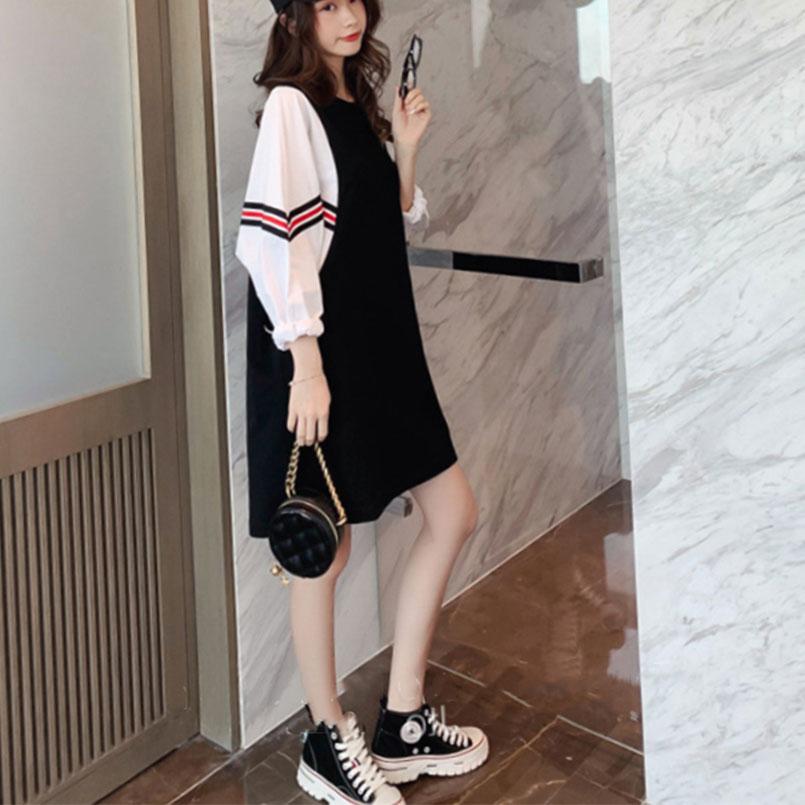 连衣裙女2019秋新款韩版宽松拼接假两件裙子袖中衬衫v裙子长裙蝙蝠