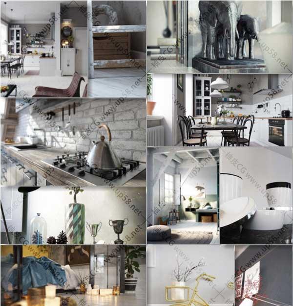 3DSMAX / VRay欧洲纳维亚风格的室内装饰场景精细3D模型