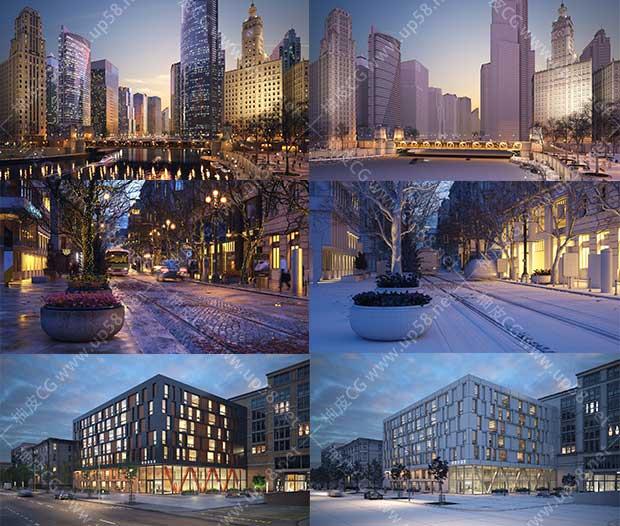 3DSMAX / VRay现代城市街道大厦外景场景高品质3D模型