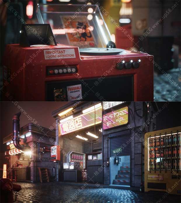 3DSMAX / C4D / Blender / Houdini / maya / Unity / Unreal科幻感赛博朋克街区建筑设施3D模型