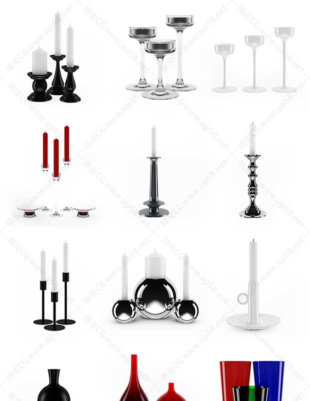 3DMAX / C4D / VRay家用厨房炊具餐具高精度3D模型