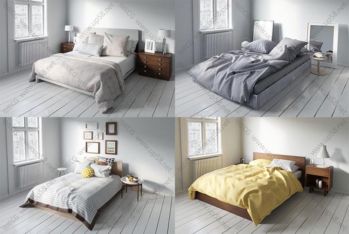 3dsmax室内装饰高精度床3D模型合辑