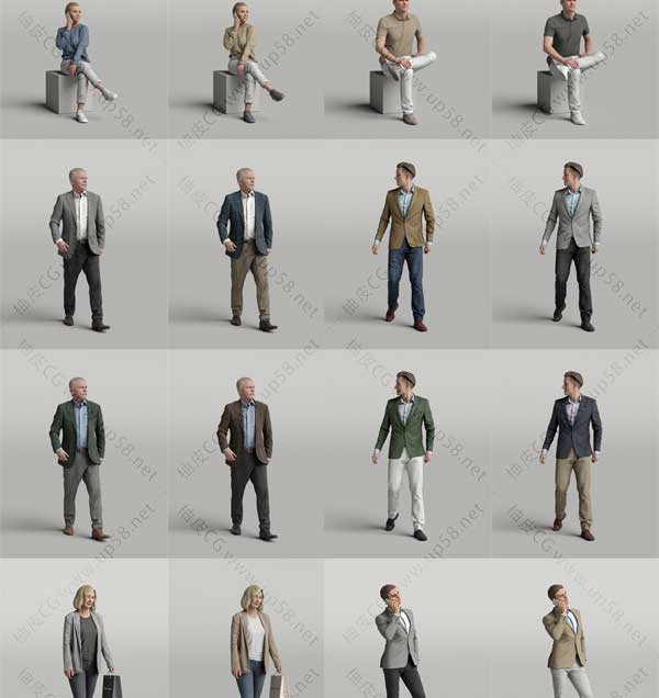 C4D / 3DSMAX / Rhino / SU精细男女人物角色3D模型素材包