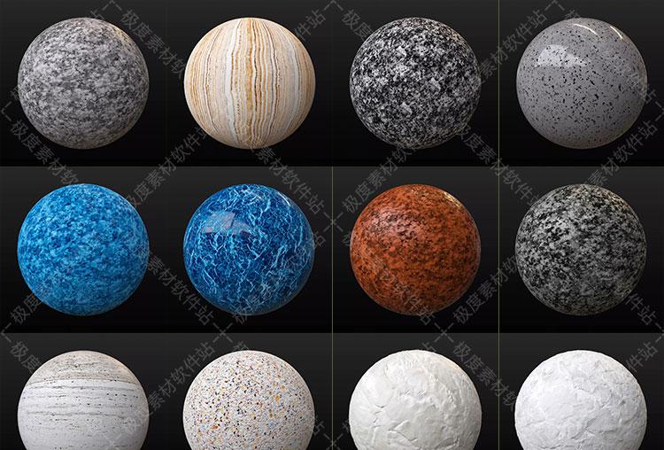 VRay渲染器 C4D室内外装饰设计大理石4K高清无缝材质球预设素材库